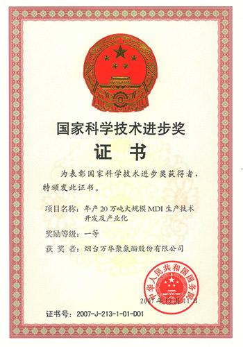 2008国家科技进步一等奖(烟台万华)