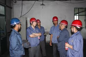 Mr.Gong Rui the president of labour union of Group Co. was inspecting and guiding the heat stroke prevention work