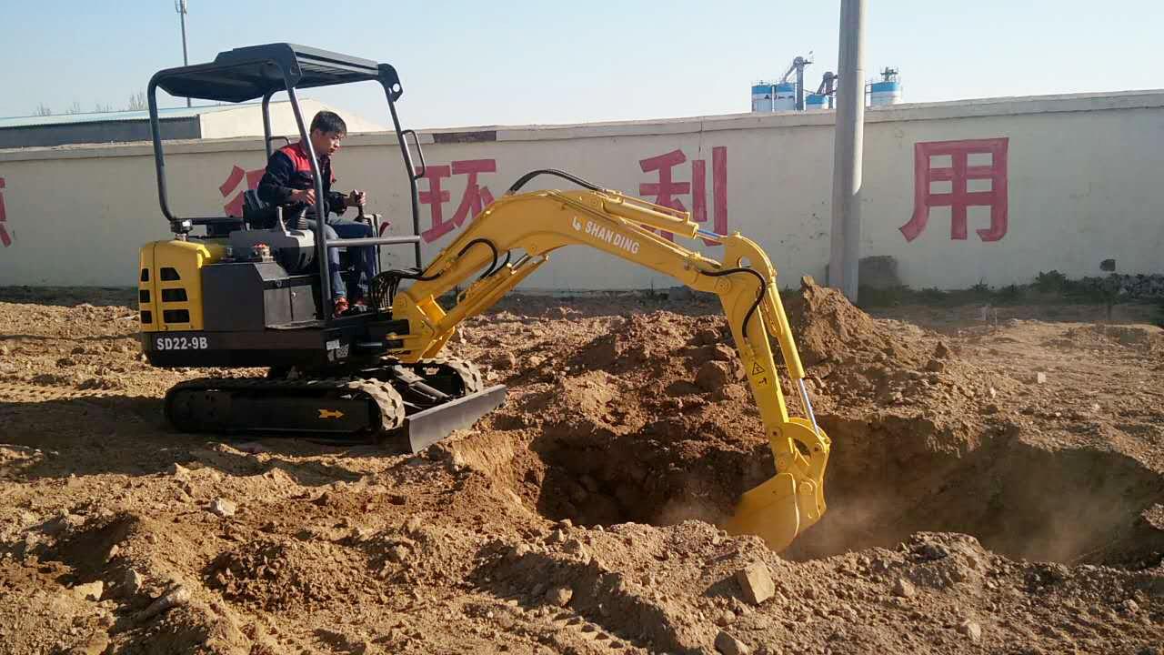山鼎SD22-9B园林小型挖掘机施工视频