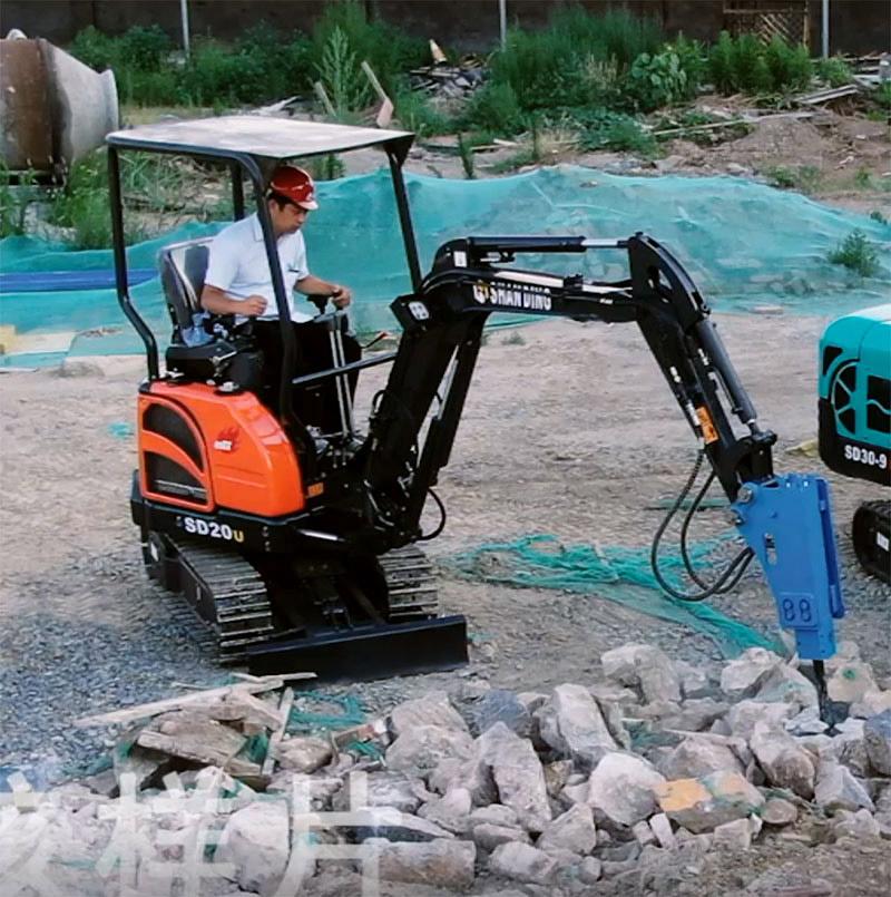 无尾进口SD20U小型挖掘机破碎锤施工